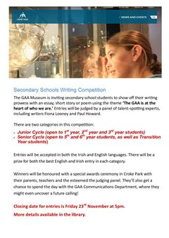 GAA Secondary School Writing Competition Deadline: 23/11/18